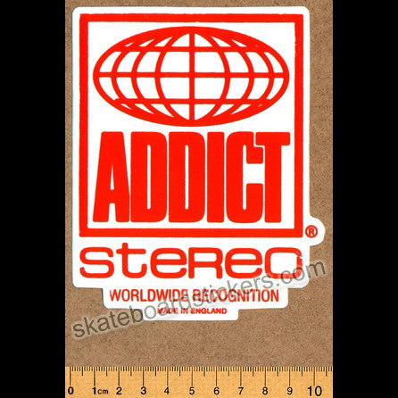 Addict Clothing Skateboard Sticker - Stereo - SkateboardStickers.com