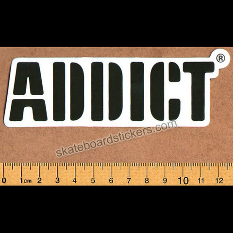 Addict Skateboard Sticker Brown Logo