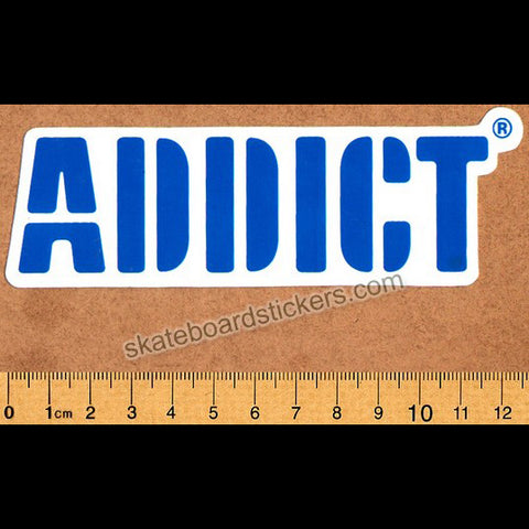 Addict Skateboard Sticker Blue Logo