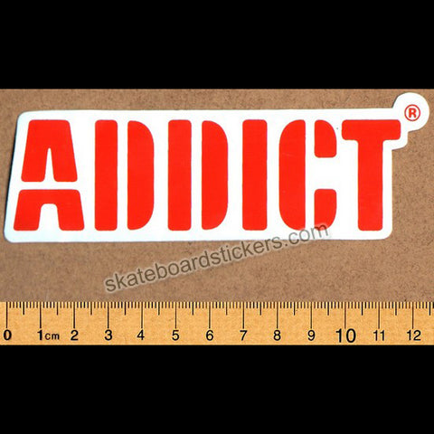Addict Skateboard Sticker Orange Logo