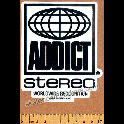 Addict Skateboard Sticker - Stereo Black