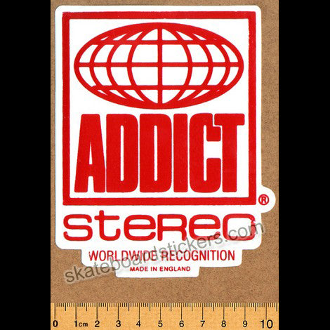 Addict Skateboard Sticker - Stereo Red