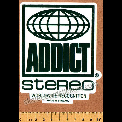 Addict Skateboard Sticker - Stereo Green