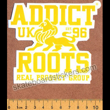 Addict Skateboard Sticker - Roots Yellow