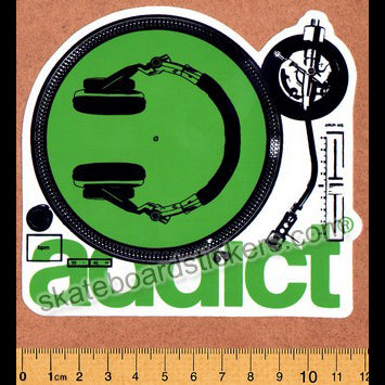 Addict Skateboard Sticker - Turntable Green