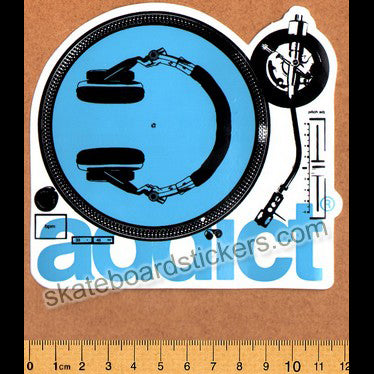 Addict Skateboard Sticker - Turntable Blue