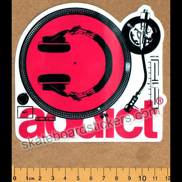 Addict Skateboard Sticker - Turntable Red