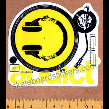 Addict Skateboard Sticker - Turntable Yellow