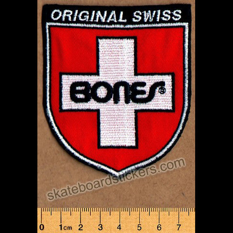 Bones Swiss Shield Skateboard Patch - SkateboardStickers.com