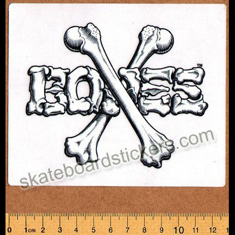 Bones Crossbones Skateboard Sticker - White/Black Big