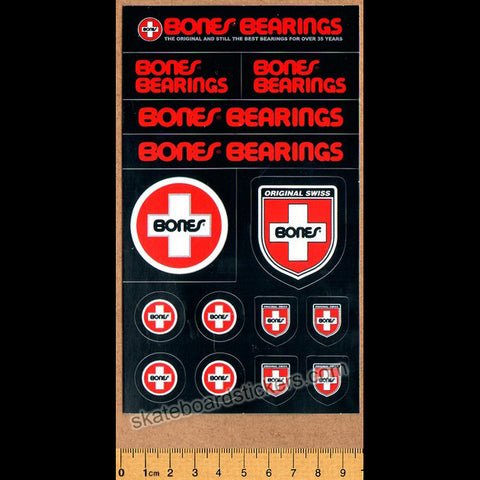 Bones Swiss Bearings Skateboard Sticker Sheet - 15 Stickers