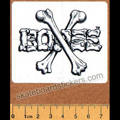 Bones Crossbones Skateboard Sticker - White/Black Small