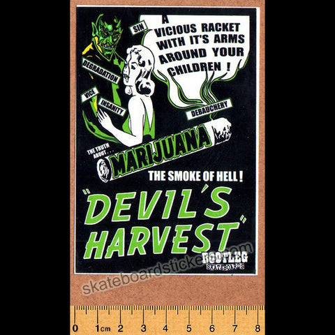 Bootleg Skateboard Sticker - Devil's Harvest