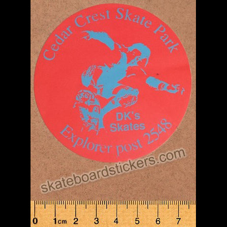 Cedar Crest Old School Skateboard Sticker small