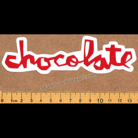 Chocolate Chunk Logo Skateboard Sticker - Red - SkateboardStickers.com