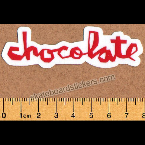 Chocolate Chunk Logo Skateboard Sticker - Small Red
