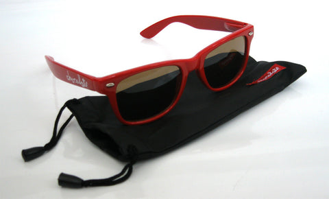Chocolate Skateboards Red Chunk Shades / Sunglasses with Pouch - SkateboardStickers.com