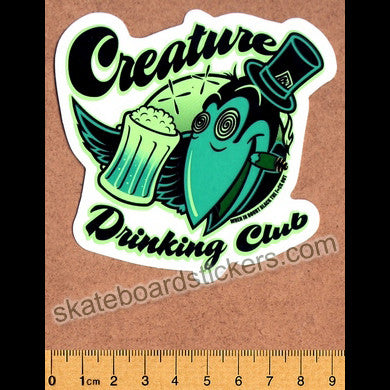 Creature Drinking Club Skateboard Sticker - SkateboardStickers.com