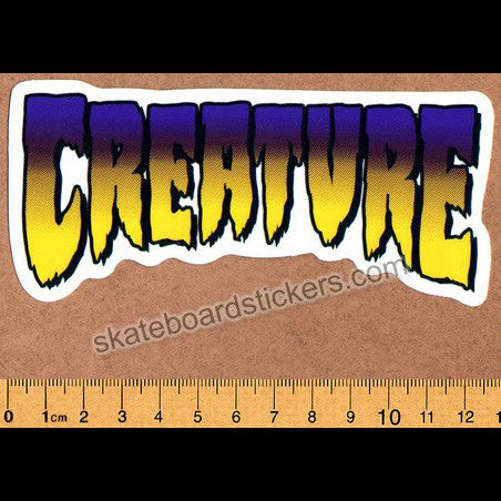 Creature Skateboard Sticker - Purple/Yellow Logo - SkateboardStickers.com