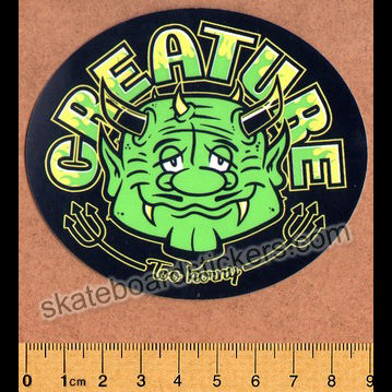 Creature Skateboard Sticker - Too Horny Green