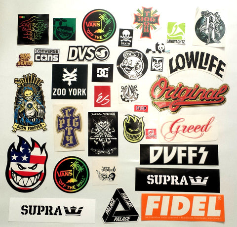 34 Skateboard Sticker Pack - Slight Creasing / Minor Defects