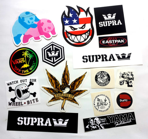 15 Skateboard Sticker Pack - Slight Creasing / Minor Defects