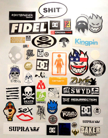 50 Skateboard Sticker Pack - Slight Creasing / Minor Defects