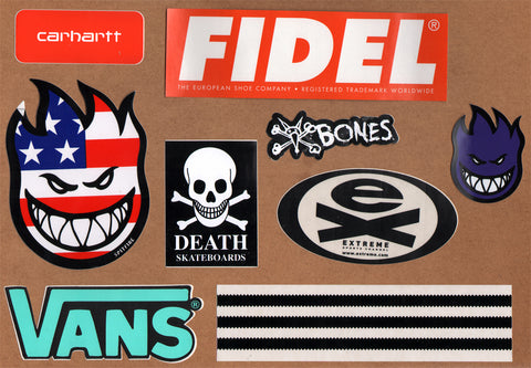 9 Skateboard Sticker Pack - Slight Creasing / Minor Defects