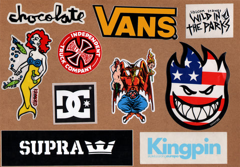 10 Skateboard Sticker Pack - Slight Creasing / Minor Defects