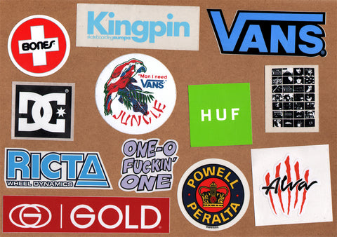 12 Skateboard Sticker Pack - Slight Creasing / Minor Defects