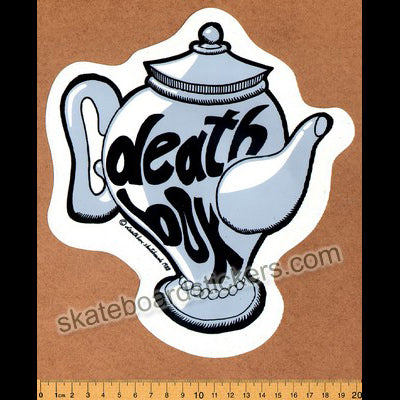 Deathbox Old School Skateboard Sticker - Grey Teapot Large