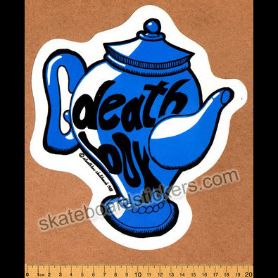 Deathbox Old School Skateboard Sticker - Blue Teapot Large
