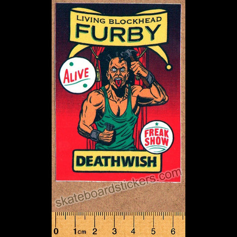 Deathwish - Living Blockhead Furby Skateboard Sticker - SkateboardStickers.com