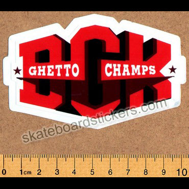 DGK / Dirty Ghetto Kids Skateboard Sticker - Ghetto Champs Red