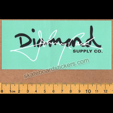 Diamond Supply Co. x Johnny Cash - Cash Script DMND Blue Skateboard Sticker