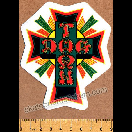 Dogtown Skateboard Sticker - Rasta Cross