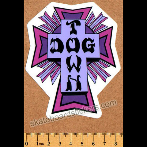 Dogtown Skateboard Sticker - Purple Cross