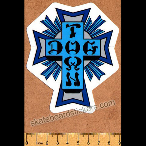 Dogtown Skateboard Sticker - Blue Cross