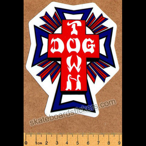Dogtown Skates Cross Logo Flag Skateboard Sticker - SkateboardStickers.com