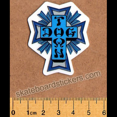 Dogtown Skateboard Sticker - Blue Cross Small