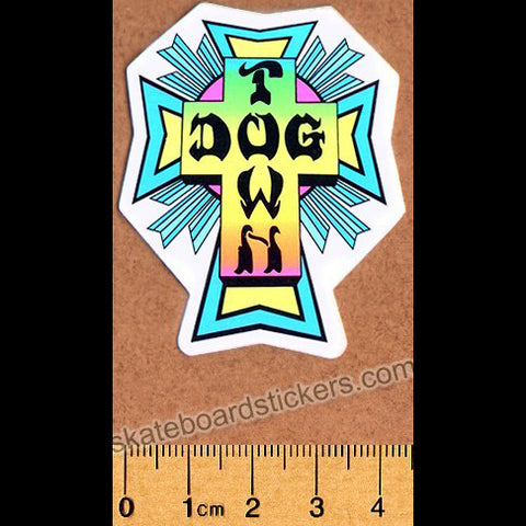 Dogtown Skateboard Sticker - Neon Cross Small