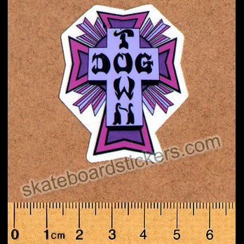 Dogtown Skateboard Sticker - Purple Cross Small