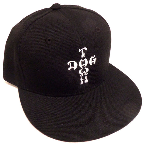 Dogtown Hat Snapback Cap Cross Letters Embroidered Black - SkateboardStickers.com