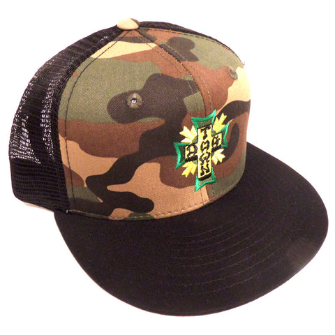 Dogtown Hat Mesh Cap Embroidered Green Cross Camo - SkateboardStickers.com