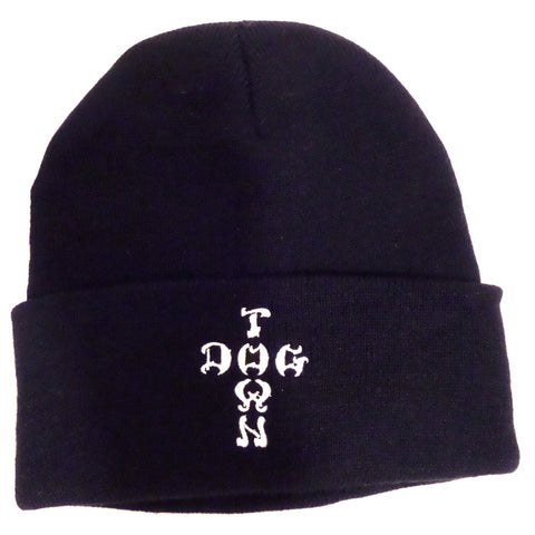 Dogtown Beanie - Embroidered Cross Letters Navy - SkateboardStickers.com