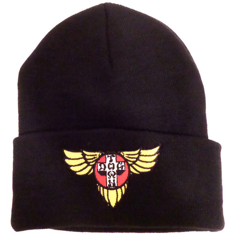 Dogtown Beanie - Embroidered Wings Black - SkateboardStickers.com