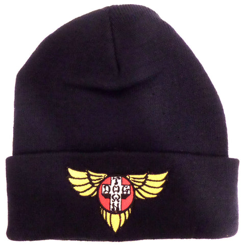 Dogtown Beanie - Embroidered Wings Navy - SkateboardStickers.com