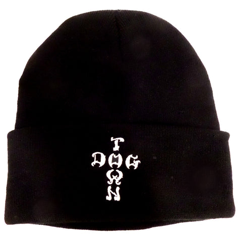 Dogtown Beanie - Embroidered Cross Letters Black - SkateboardStickers.com