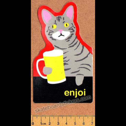 Enjoi Drinking Buddie Cat Skateboard Sticker