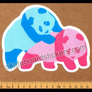 Enjoi Pink/Blue Piggyback Pandas Skateboard Sticker - SkateboardStickers.com